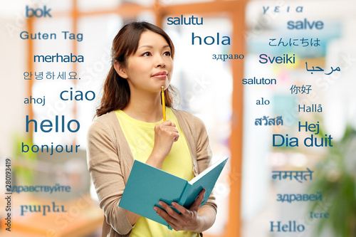 Fotomural  education, school and translation concept - asian student or creative woman with