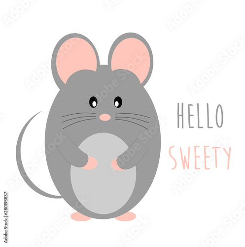 Baby mouse animal cute vector illustration Wallpaper Mural