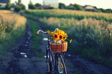 A Bicycle With A Bouquet Of Ye...