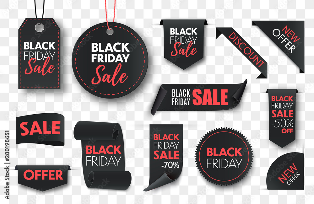 Fototapeta Black friday sale ribbon banners collection isolated. Vector price tags isolated on black background.