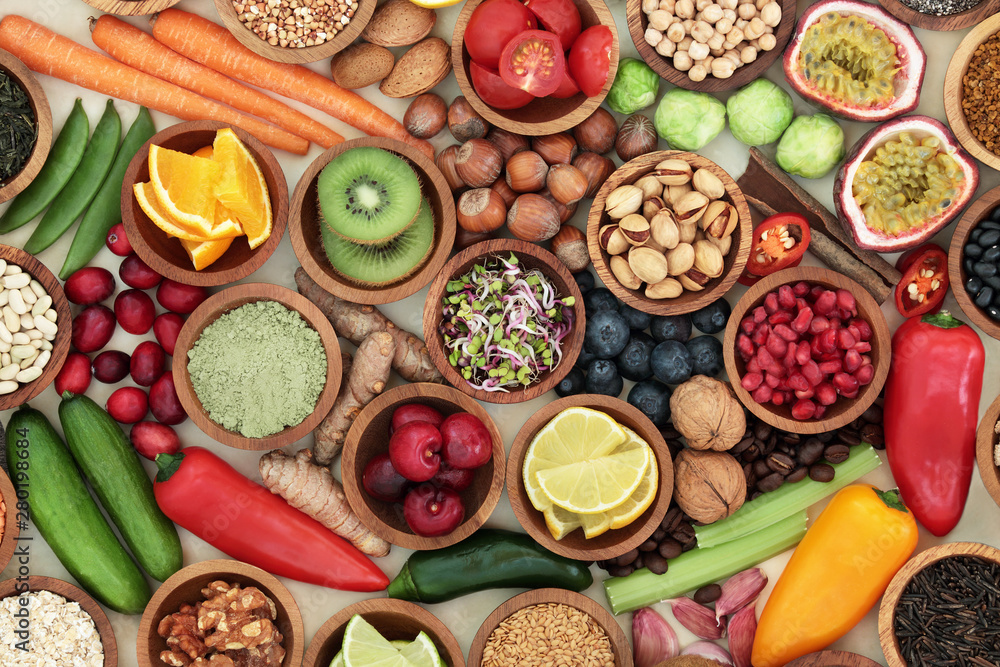 Fototapety, obrazy: Health food for clean eating concept with fresh fruit, vegetables, supplement powders, legumes, grain, seeds, nuts, herbs and spices. High in antioxidants, anthocyanins, vitamins and dietary fibre.
