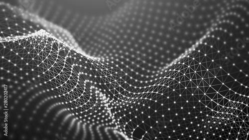 Obraz Abstract network connection. Data technology illustration. Digital background. 3d rendering. - fototapety do salonu