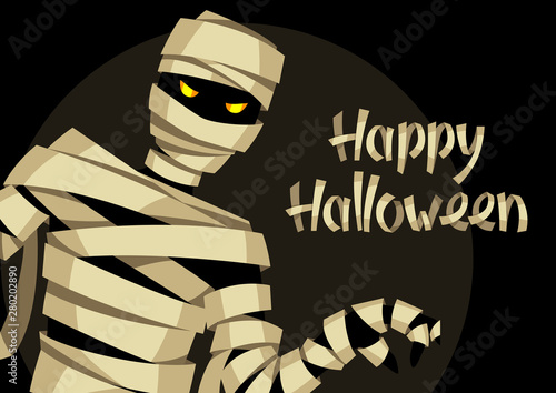 Happy Halloween greeting card with mummy. Canvas Print
