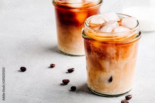 Photo Almond Milk Cold Brew Coffee Latte in glass jars