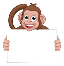 A Monkey Cute Happy Cartoon Character Animal Holding A Blank Sign With Copy-space