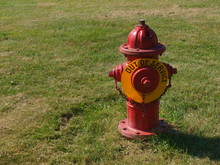 Red Fire Hydrant With Out Of Service Sign No Water