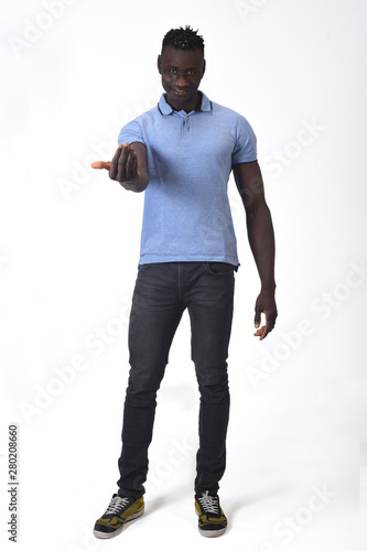 Photo  african man, come with me on white background