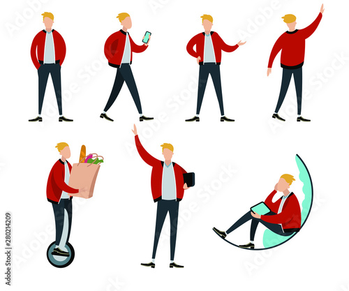 Fotografija  Flat colorful vector set of young man character poses and movements