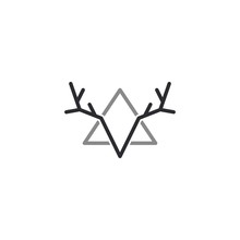 Simple Deer Antler And Triangle. V Letter Isolated Logo Vector
