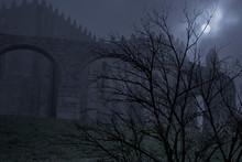 Creepy Monastery In An Overcas...