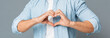 canvas print picture - Heart-Shaped Male Hands Gesture Closeup On Gray Background