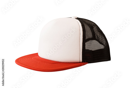 Carta da parati  Mock up of trucker hat or mesh cap isolated on white background