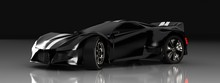 Modern Black Sports Car ,3d ,render.