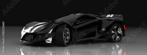 Fotografía  Modern black sports car ,3d ,render.