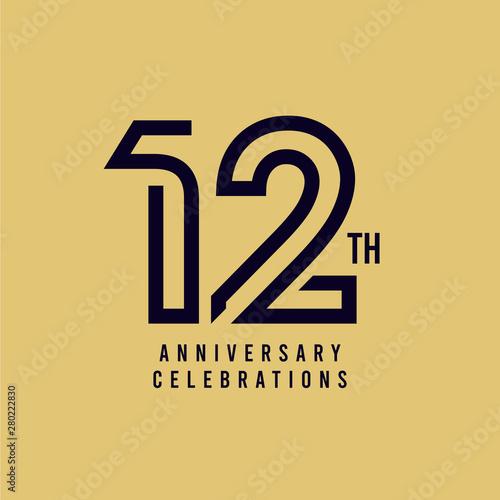 Fotografia  12 Th Anniversary Celebration Vector Template Design Illustration
