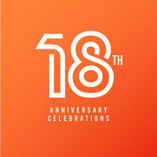 18 Th Anniversary Celebration Vector Template Design Illustration