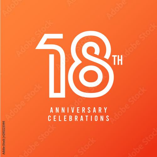 Photographie 18 Th Anniversary Celebration Vector Template Design Illustration