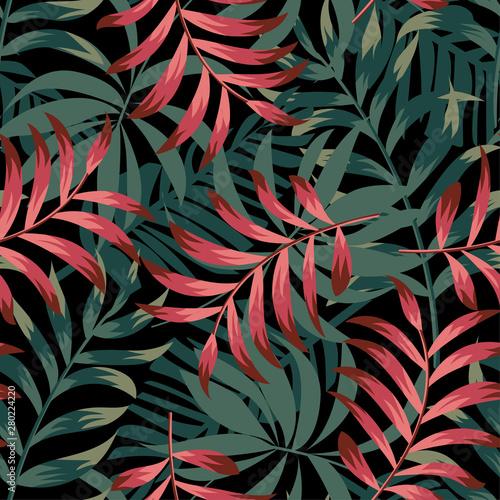 Trend abstrakcyjny wzór z kolorowych liści tropikalnych i roślin na czarnym tle. Projekt wektor Nadruk w dżungli. Kwiaty w tle. Druk i tekstylia. Egzotyczne tropików. Świeży design.