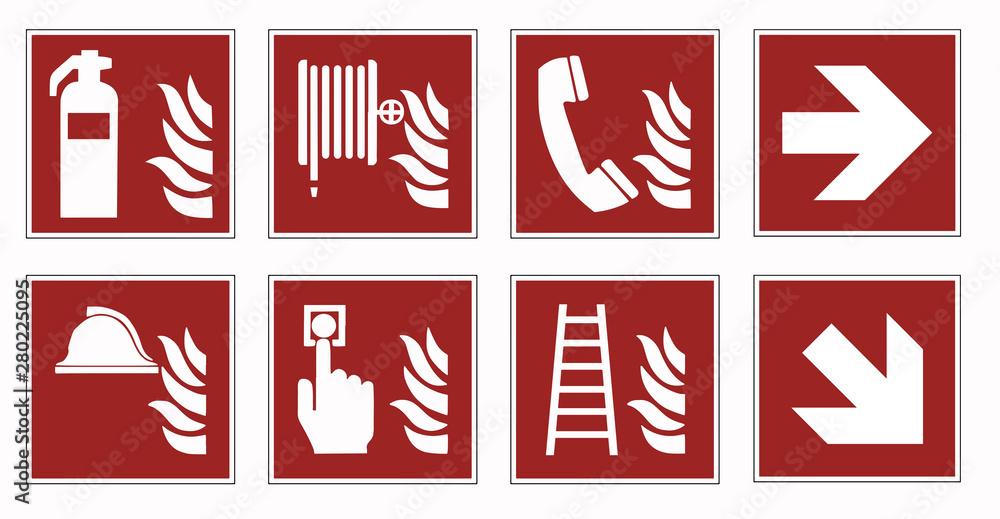 Fototapeta fire protection signs - emergency pictogram  set -