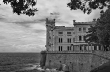 Castle Is A 19th-century Castle On The Gulf Of Trieste Near Trieste. It Was Built From 1856 To 1860 For Austrian Archduke Ferdinand Maximilian And His Wife