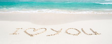 Words I Love You On Beach. Vac...