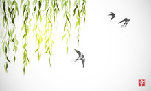 Flying Swallow Birds And Green Willow Branches On White Background. Traditional Japanese Ink Wash Painting Sumi-e. Hieroglyph - Happiness.