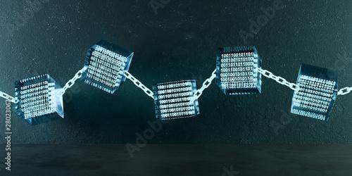 Leinwand Poster 3D Illustration Blockchain Kette