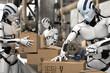 canvas print picture - 3D Illustration Roboter als Arbeitskraft in der Logistik