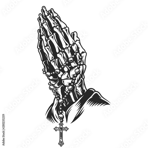Fototapeta Vintage skeleton praying hands concept