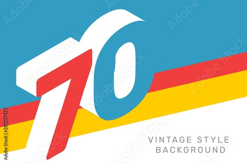 Obraz na plátně Vector isometric number 70 typography on bright color background