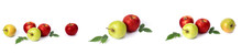 Set Of Red Apples On A White Background. Juicy Apples Of Red Color With Yellow Specks On A White Background. The Composition Of Juicy Red Apples