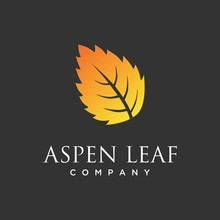 Aspen Leaf Logo Vector, Minimalist, Luxurious