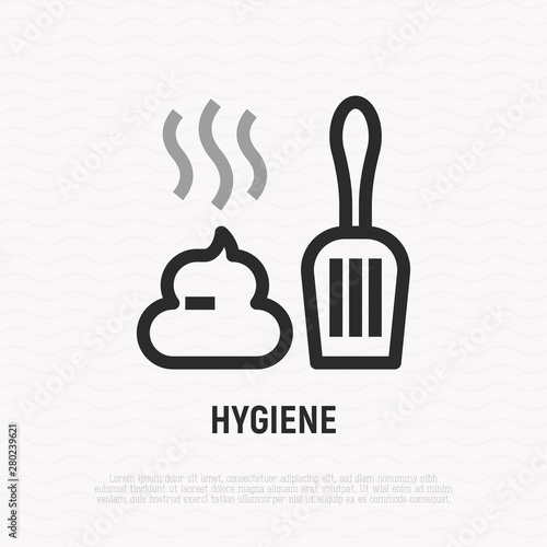 Hygiene after pet thin line icon: poop and scoop  Modern