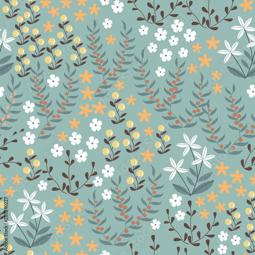 wektorowy-kwiecisty-bezszwowy-wzor-z-abstrakcjonistycznymi-plaskimi-doodle-elementami-takimi-jak-rosliny-kwiaty-jagody-i-trawa-las-natura