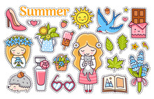 Kawaii Summer Stickers With Bl...
