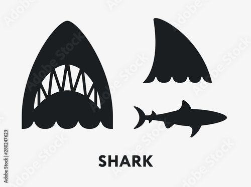 Shark Fish Jaws Tail. Flat Vector Icon Set. Poster Mural XXL