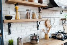 Bright Kitchen Background. Bright Kitchen. Wooden Countertops