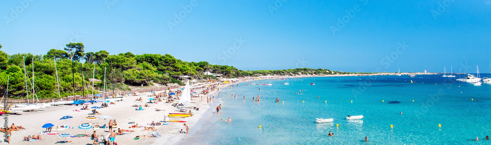 Fototapety, obrazy: Panoramic image people swimming and sunbathing on the picturesque Las Salinas beach. Ibiza, Balearic islands. Spain