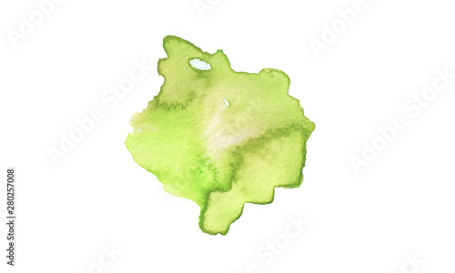 Abstract watercolor and acrylic blot painting. Green Color design element.