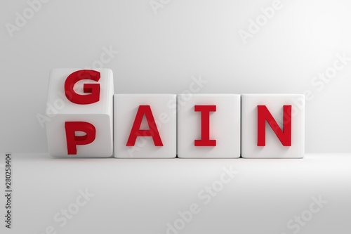 Fotografia Concept for achievement with white cubes boxes and changing words from PAIN to G