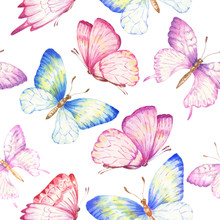 Watercolor Butterflies Seamless Pattern, Repeating Background. Hand Drawn Botanical Illustration.