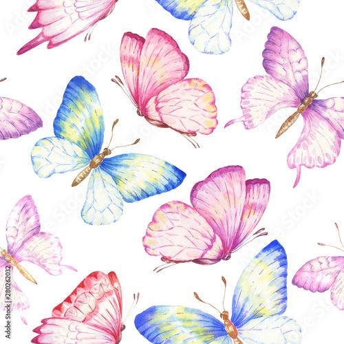 Fototapeta  Watercolor butterflies seamless pattern, repeating background