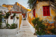 Anafiotika Neighborhood And Acropolis In The Old Town Of Athens'