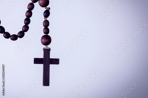 Fotografiet Close up rosary as symbol of salvation and eternal life