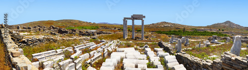 Superb panoramic view of the Temple of Apollo on the island of Delos, near Mykon Wallpaper Mural