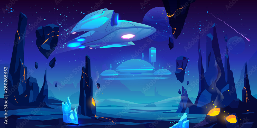 Fototapety, obrazy: Spaceship, interstellar station hover above alien planet surface, neon space background with flying rocks, dark starry sky, fantasy extraterrestrial landscape with craters. Cartoon vector illustration