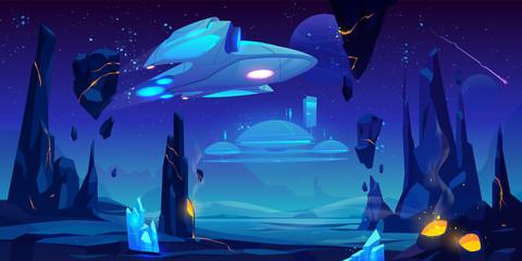 Spaceship, interstellar station hover above alien planet surface, neon space ...
