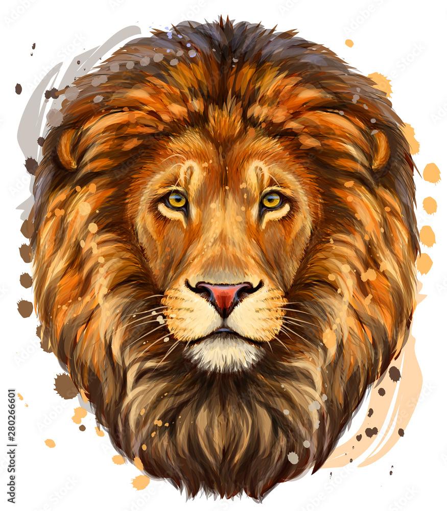Fototapeta Lion. Artistic, color profile portrait of a lion's head on a white background with watercolor splashes.