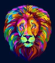 Lion. Abstract, Multi-colored ...