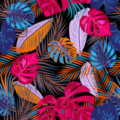 FototapetaVector tropical jungle seamless pattern with palm tree leaves
